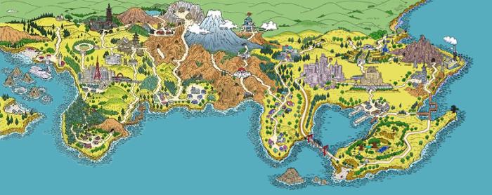 Kanto et Johto d'après une carte datant de la sortie des versions Or et Argent