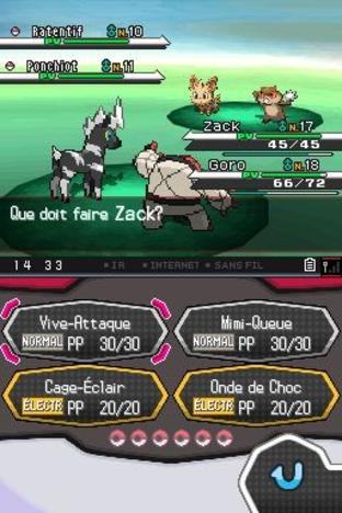 L'interface de combat des versions Noire et Blanche