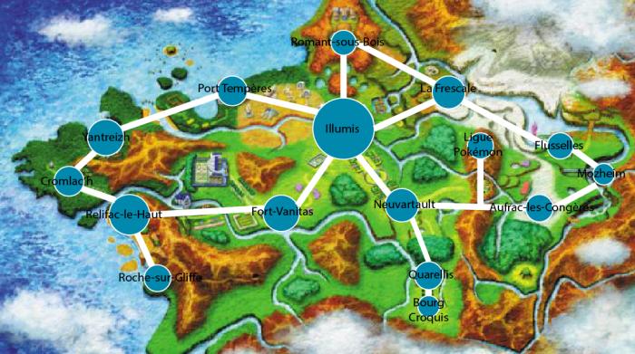 Les villes de Kalos avec leurs noms, pour vous repérer