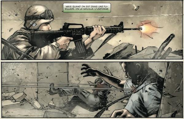 Le fond de guerre en Afghanistan associé à la dureté du texte de Morrell confère à ce comic une ambiance particulière