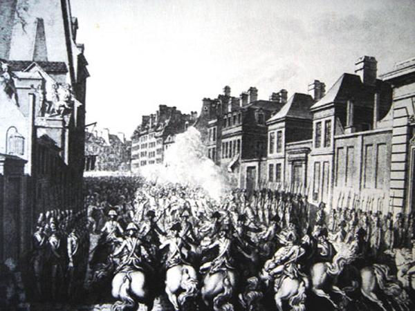 La faubourg Saint Antoine en proie aux émeutes