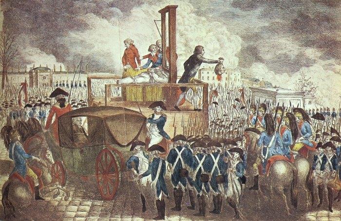 La tête de Louis XVI montrée au peuple après son exécution.