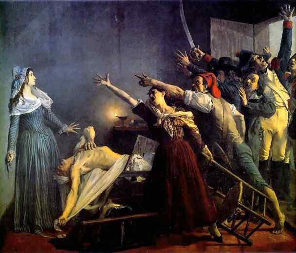 L'assassinat de Marat tel qu'immortalisé par Jean Joseph Weerts.