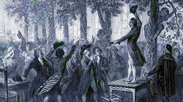 Camille Desmoulins appelant à la révolte dans les jardins du Palais Royal, cela pourrait donner une belle séquence.
