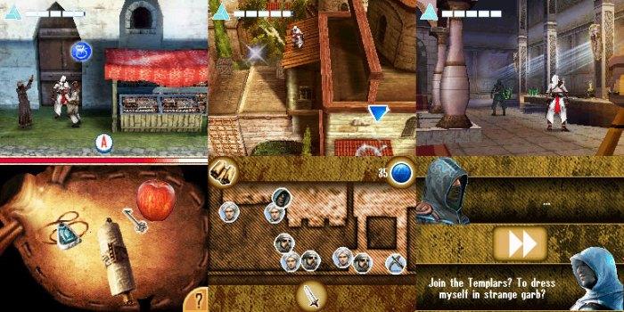 L'écran tactile de la DS sert notamment à afficher les phases de pickpocket (à gauche), la map du niveau (au milieu) et les dialogues (à droite).