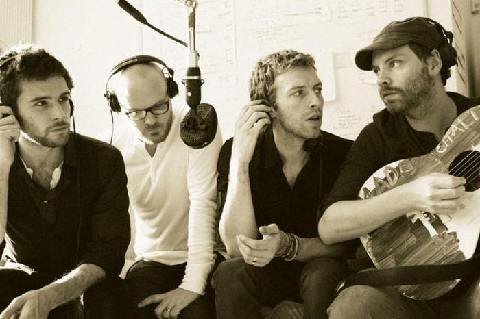 Les quatre membres de Coldplay, de gauche à droite : Guy Berryman, Will Champion, Chris Martin et Jonny Buckland