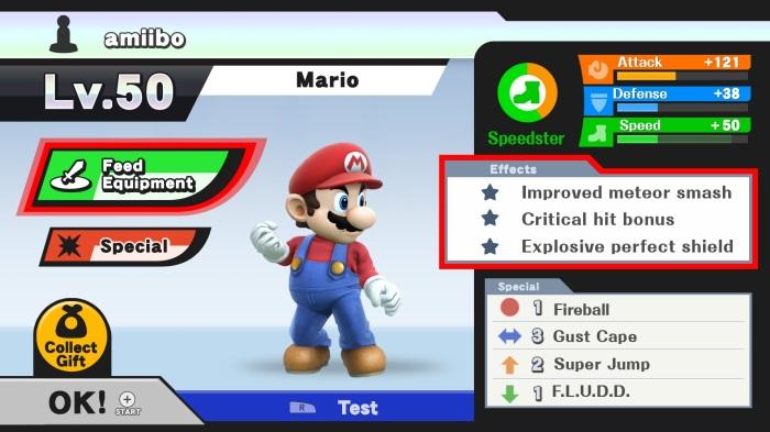 L'interface de personnalisation des Amiibo (mais aussi des autres personnages et des Miis) est très intuitive.