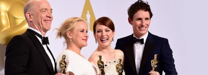 J.K. Simmons (Whiplash), Patricia Arquette (Boyhood), Julianne Moore (Still Alice) et Eddie Redmayne (Une Merveilleuse Histoire du Temps) sont les quatre comédiens vainqueurs de cette soirée.