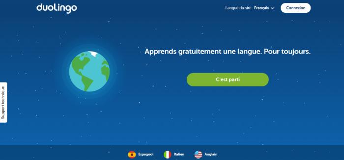 Ecran d'accueil de Duolingo