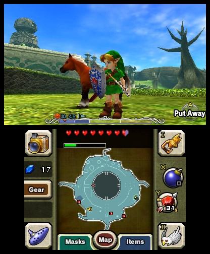 Comment pour Ocarina of Time 3D, l'écran supérieur affiche l'action tandis que l'écran tactile permet de naviguer dans les menus.