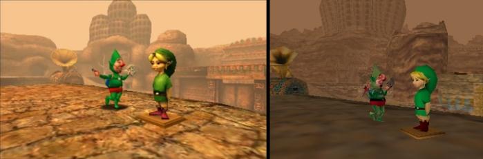 A gauche, les graphismes 3DS ; à droite, ceux sur Nintendo 64.