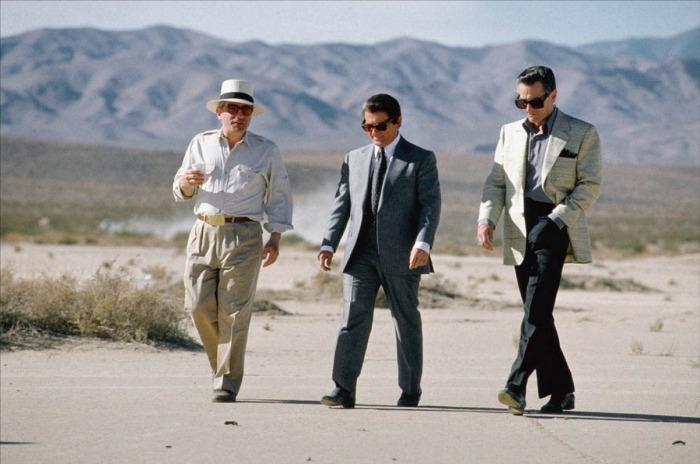 Martin Scorsese, Joe Pesci et Robert De Niro sur le tournage de Casino.