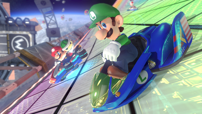 Luigi, toujours aussi impitoyable au volant du Blue Falcon flambant neuf.