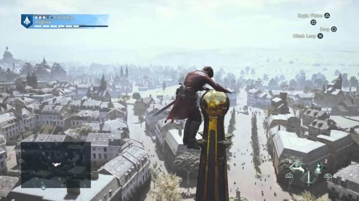 Grimper et descendre des édifices est devenu bien plus agréable grâce à un système permettant de le faire par étapes qui évite les chutes inopportunes. (oui c'est une capture d'écran PS4 mais j'ai bien joué sur Xbox One)