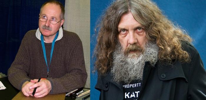 Brian Bolland à gauche et Alan Moore à droite.