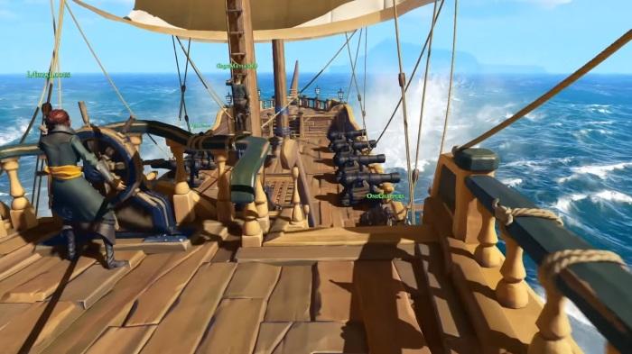 Visiblement au menu de Sea of Thieves : exploration terrestre et maritime, batailles navales, chasses au trésor et même le supplice de la planche !