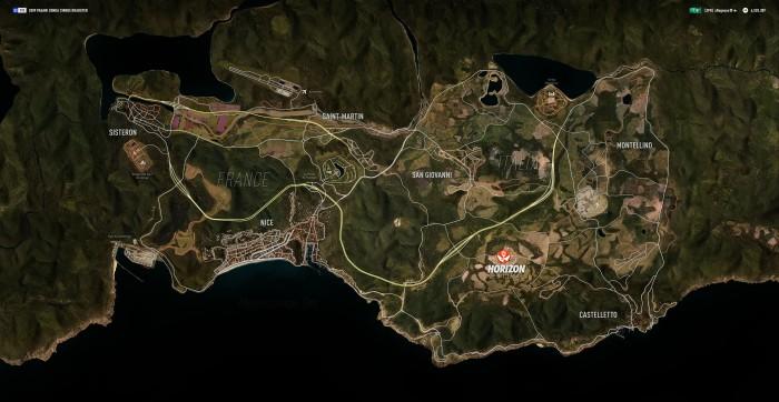 La carte du monde de Forza Horizon 2 est suffisamment grande pour proposer de belles promenades en voiture et propose une belle variétés de terrains.