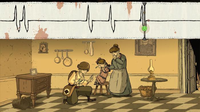 Le jeu tente parfois de diversifier son gameplay comme ici avec une phase de rythme en incarnant Anna soignant une petite fille. Mais l'effort n'est pas assez poussé et laisse Soldats Inconnus se contenter d'une expérience très classique.