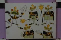 Plusieurs études de personnages du jeu Abraca sont exposées en fin de visite.