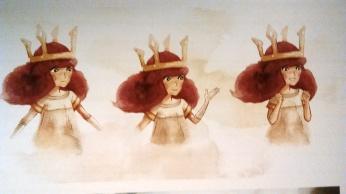 Artworks d'Aurora, héroïne de Child of Light. La visite nous apprend notamment que les développeurs du jeu n'ont retouché aucun dessin de préparation et ont tout appliqué tel quel dans le jeu.
