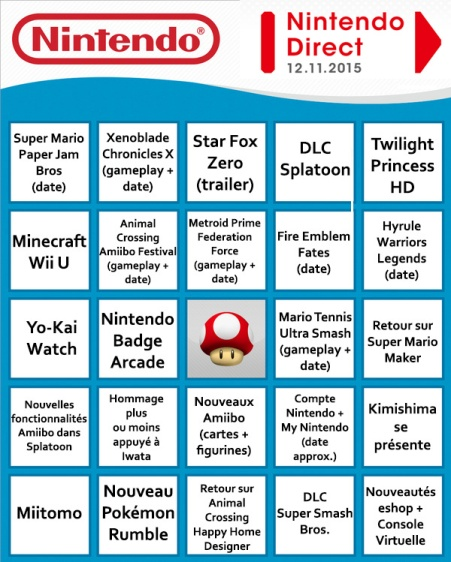 Bingo Nintendo Direct 12-11-15