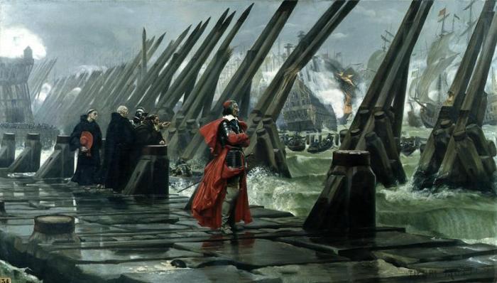 Le siège de La Rochelle (qui a réellement eu lieu, pour ceux qui l'ignoreraient éventuellement) joue un rôle déterminant dans le roman et rappelle comment Les Trois Mousquetaires arrive à être un subtil mélange entre roman de cap et d'épée et roman historique.