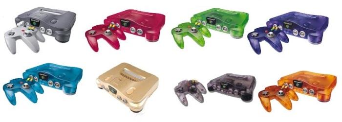 Echantillon non exhaustif de la palette de couleurs et la Nintendo 64. Il vous les faut toutes...