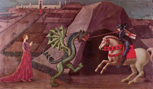 Le mythe de la demoiselle en détresse et du preux chevalier qui va avec est très ancien. Ici, St Georges combattant le dragon pour délivrer sa belle (tableau de Paolo Uccello).