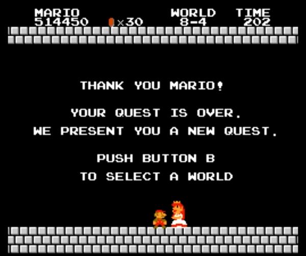 Voilà à quoi se résumait Peach dans Super Mario Bros. en 1985 : merci Mario, tu m'as sauvée, fin de l'histoire.