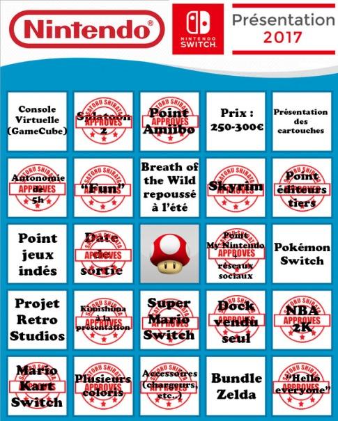 Résultat de mon bingo spécialement préparé pour l'occasion, mis à jour avec les annonces les plus récentes.
